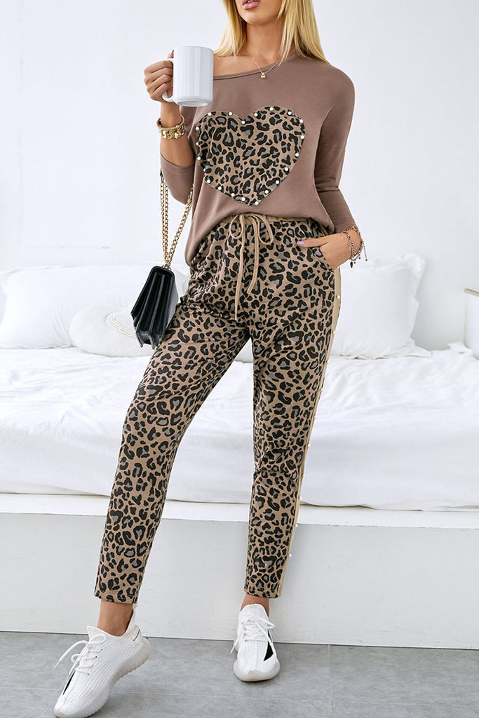 Heart Leopard Pearls Drawstring Waist Two Pieces Sets