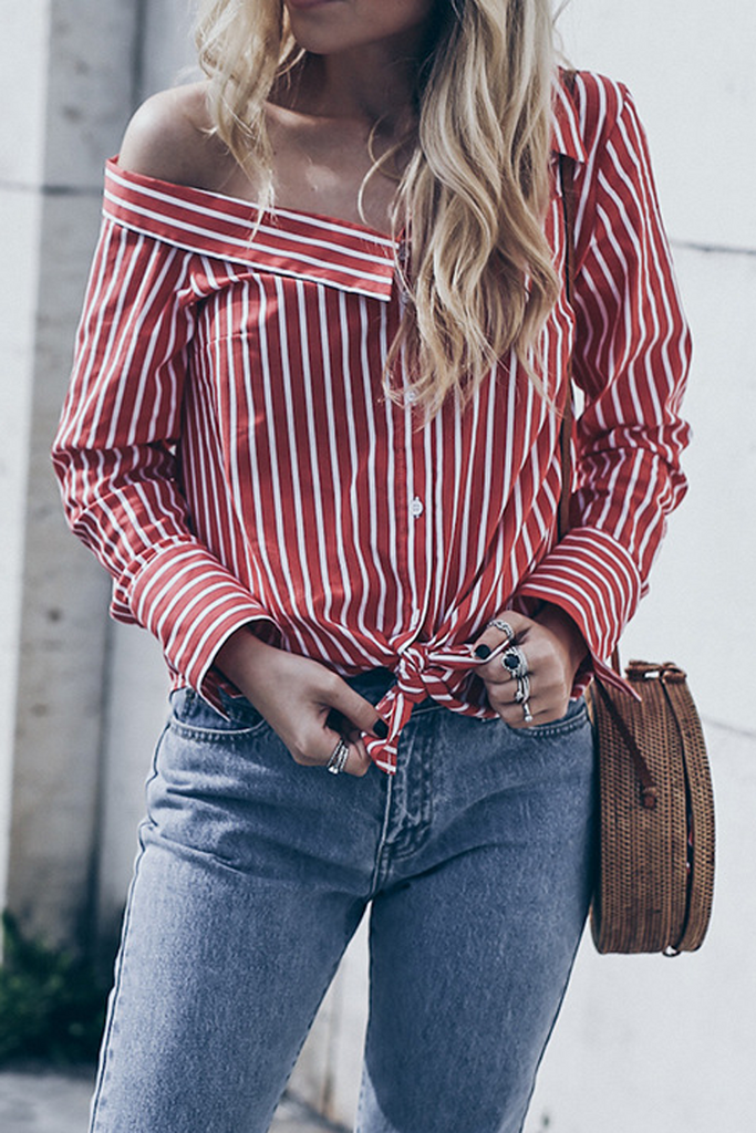 One Shoulder Stripe Knotted Blouse