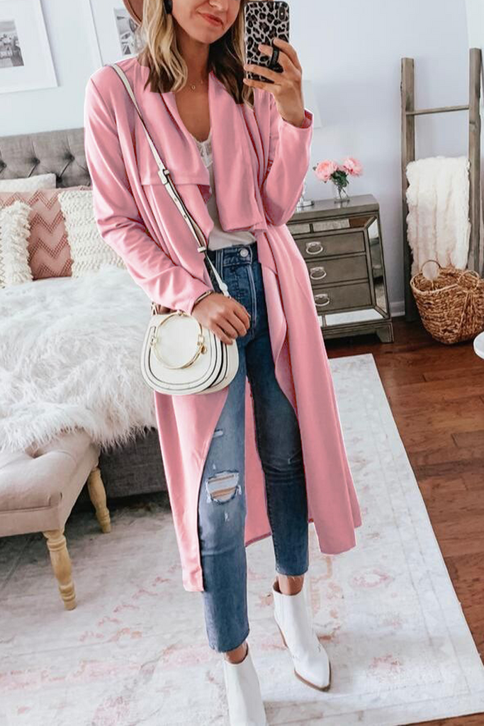 Knitted Solid Color Trench Coat