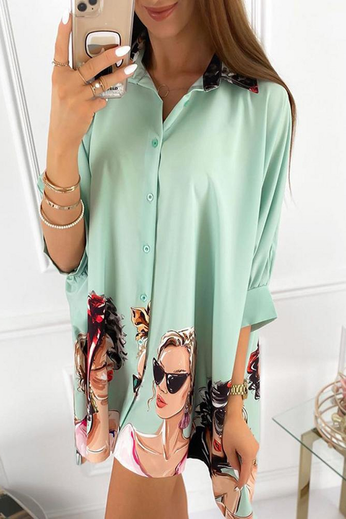 Girl Print Three Quarter Sleeve Blouse