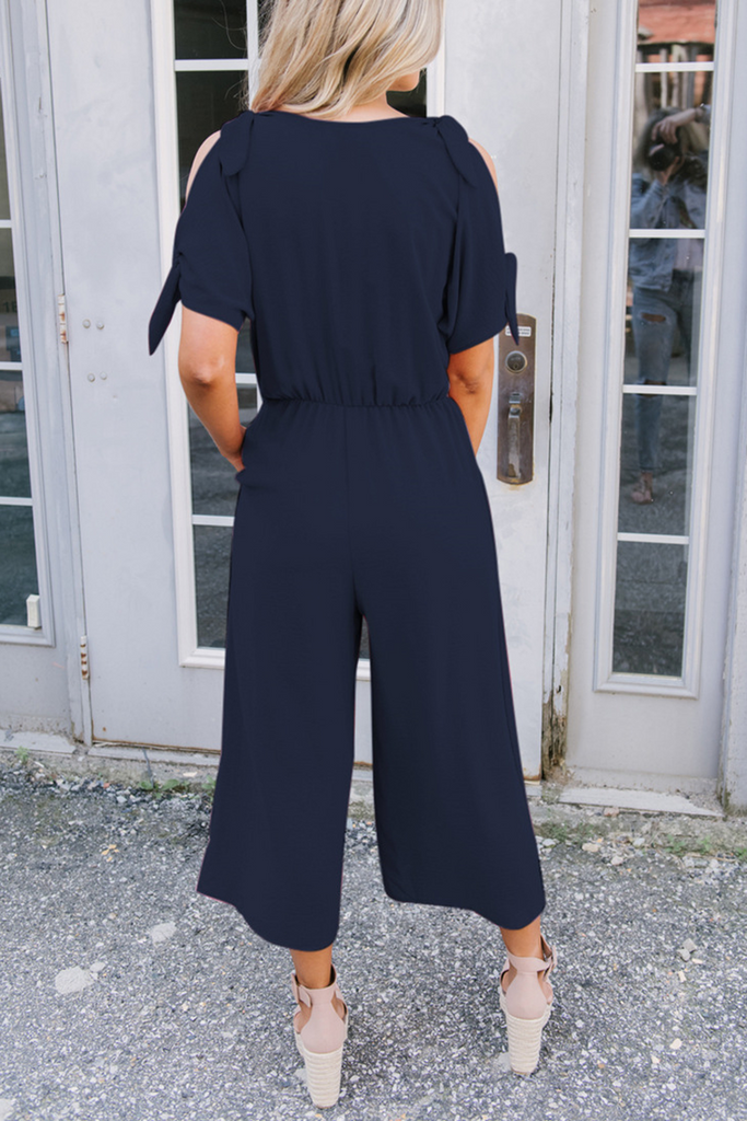 Solid Cold Shoulder V-Neck Jumpsuit