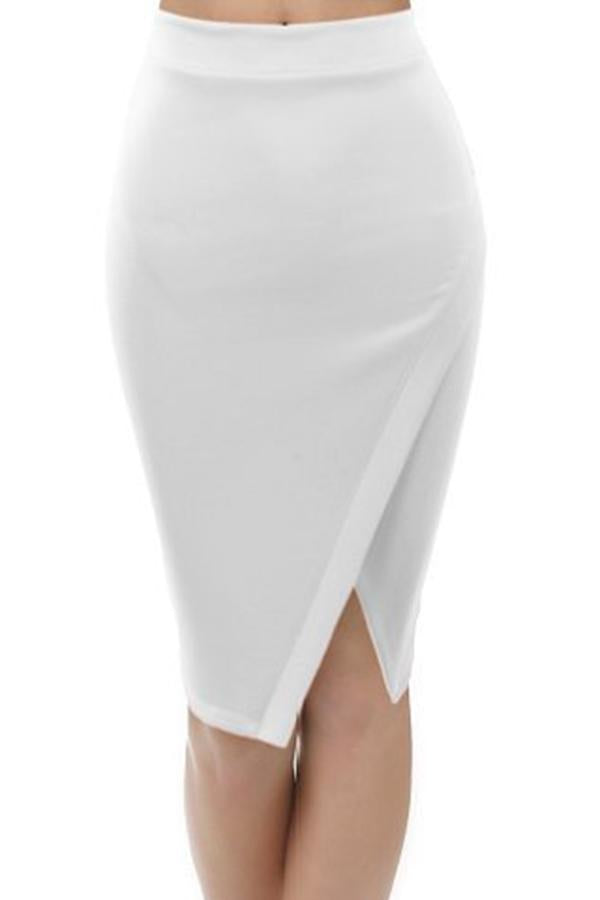 Split Solid Color Sexy Skirt