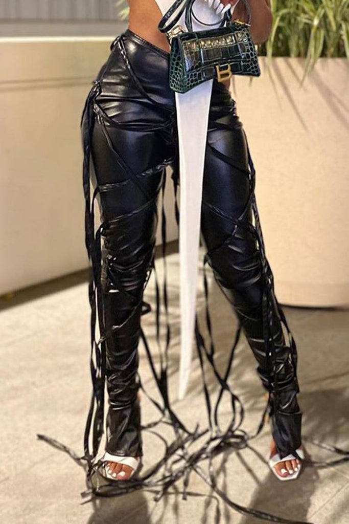 PU Lace Up Zipper Solid Color Pants