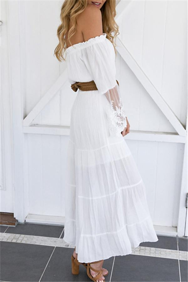 Off the Shoulder Trumpet Sleeve Lace Dress