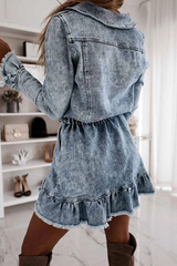 Denim Distressed Elastic Waist Dress