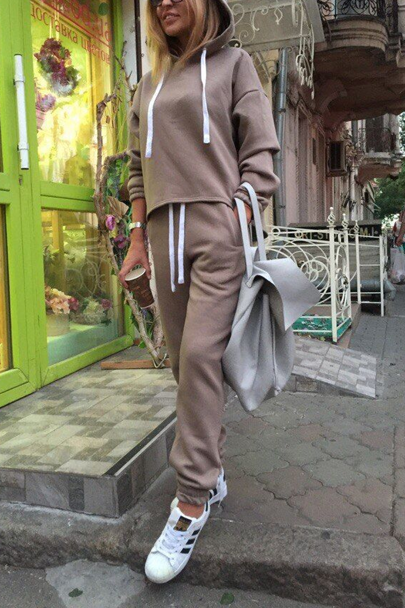 Solid Hooded Two Pieces Set