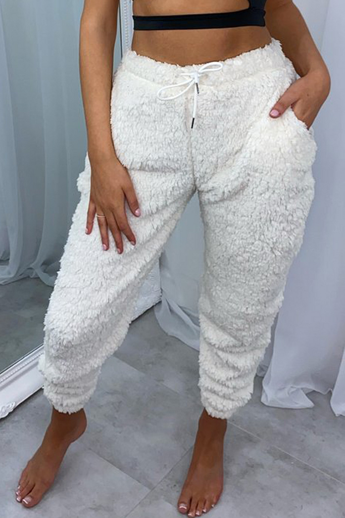 Solid Plush Drawstring Waist Trousers