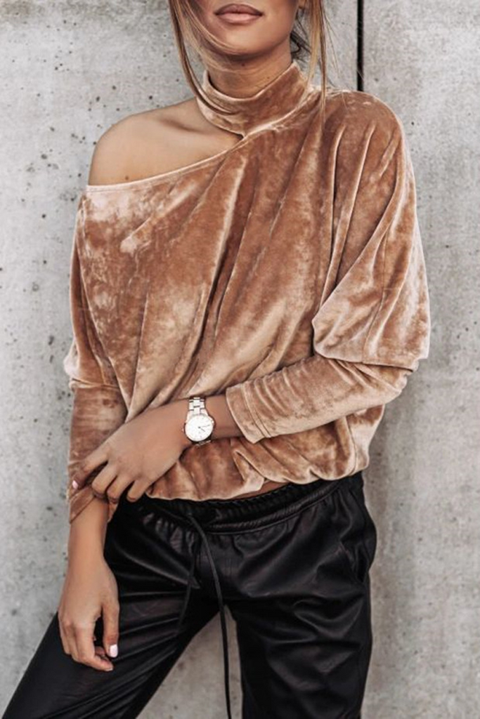 Halter Neck Bat Sleeve Velvet Top