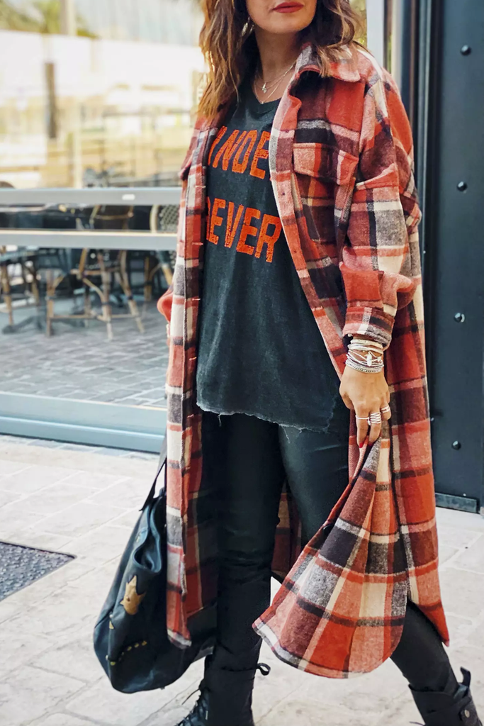 Lapel Plaid Print Woolen Long Coat