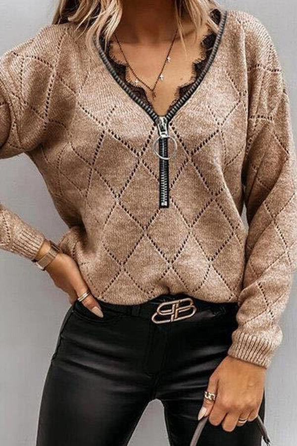 Lace Casual V-Neck Zipper Sweater