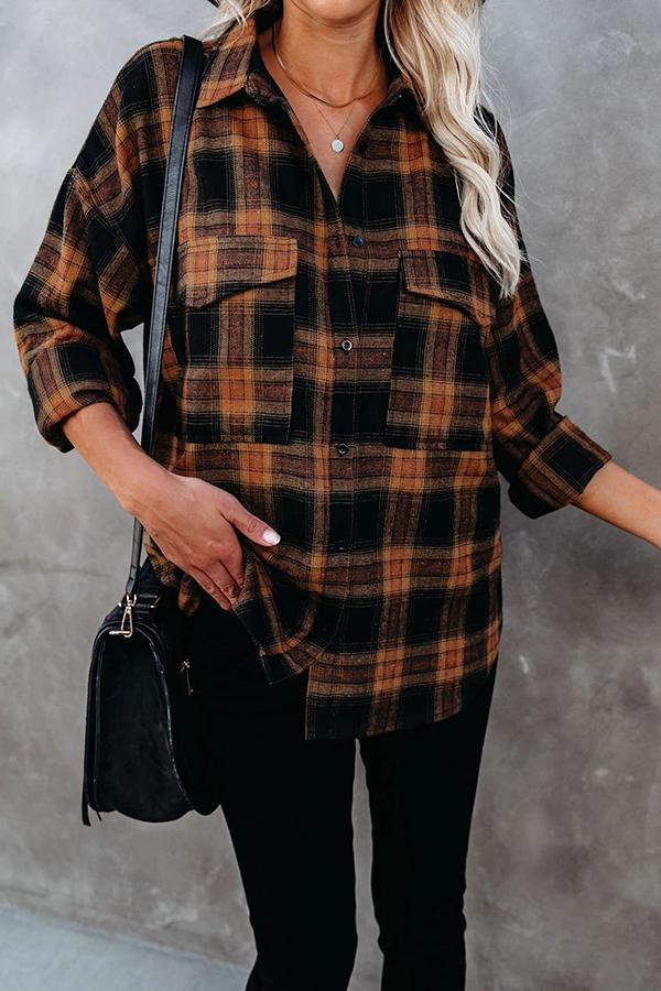 Hip-Length Long Sleeve Plaid Lapel Shirt