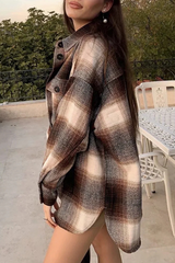 Plaid Print Lapel Irregular Hem Coat