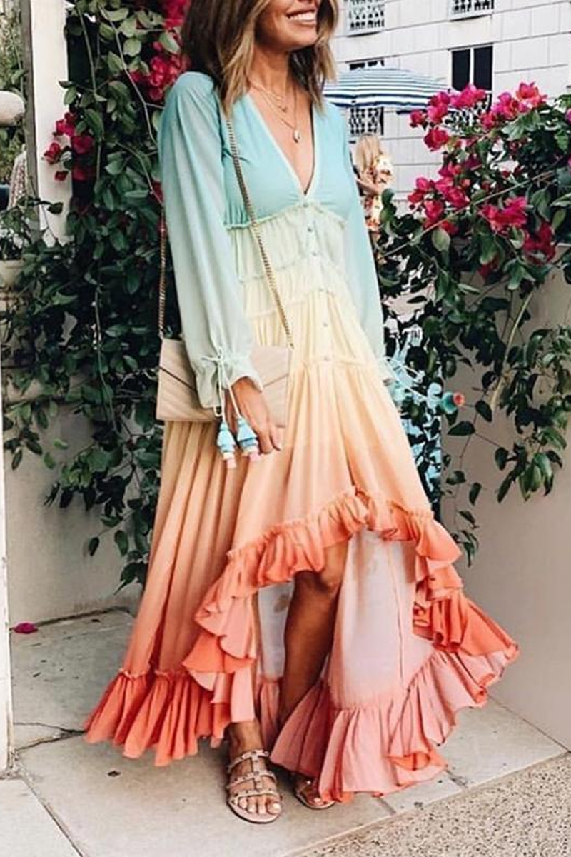 Ruffle Hem Rainbow V-Neck Gradient Maxi Dress