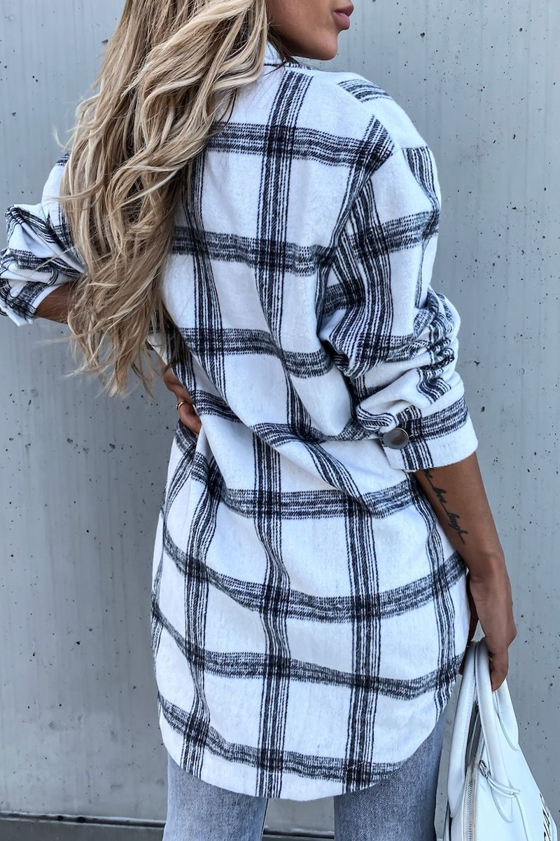 Plaid Print Casual Blouse Coat