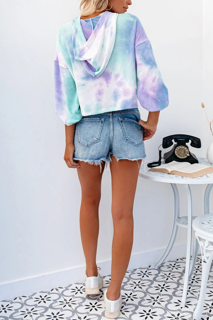 Tie Dye Lace-Up Pocket Hoodie