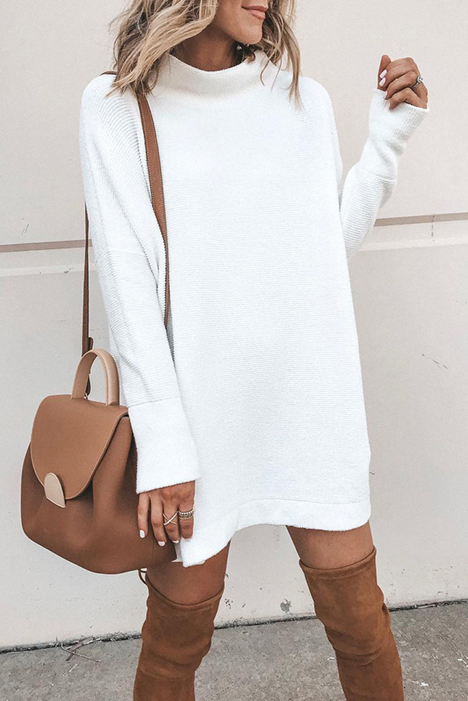 Solid Color Knitted Mini Dress