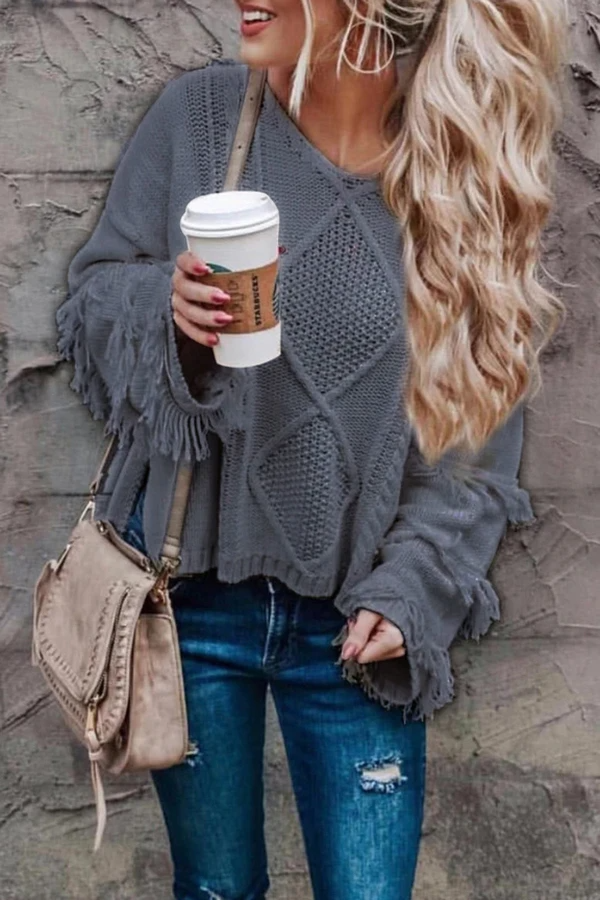 Long Sleeve Tassel V-Neck Sweater