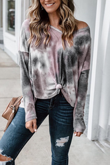 Tie Dye V-Neck Long Sleeve Shirt