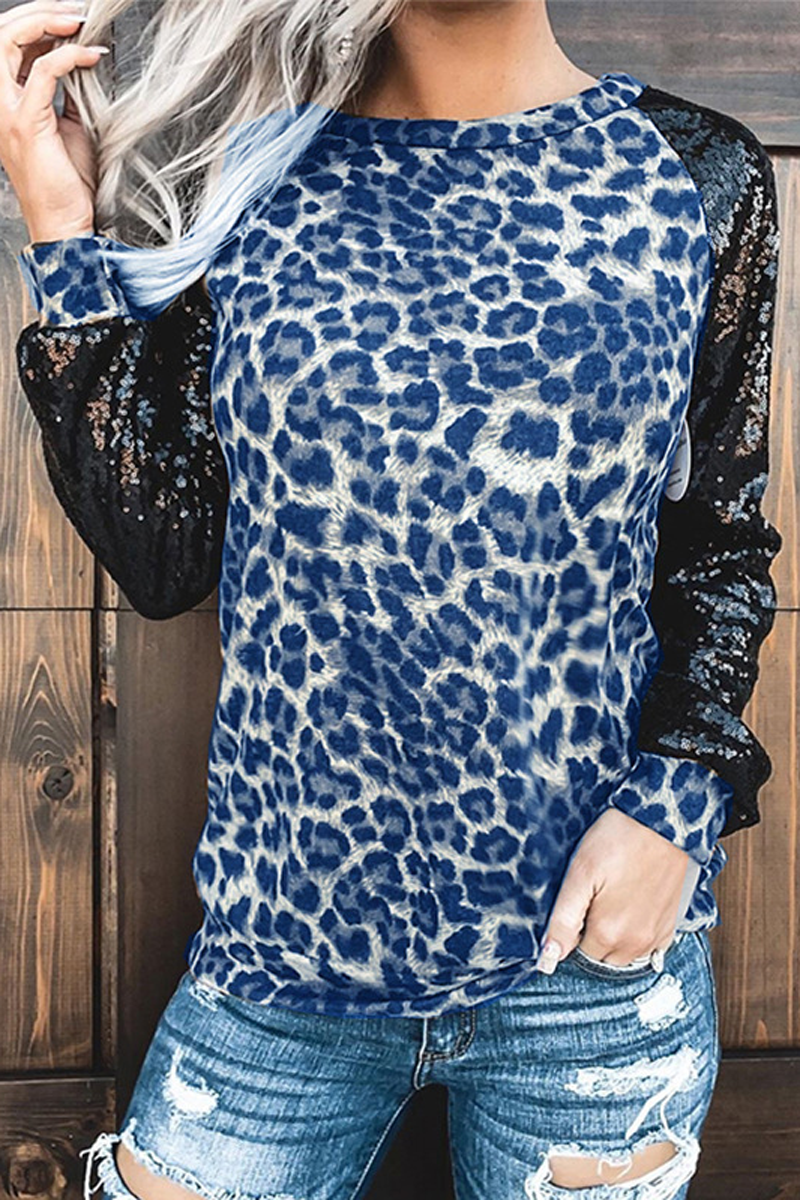 Sequined Leopard Patchwork Long Sleeve T-Shirt