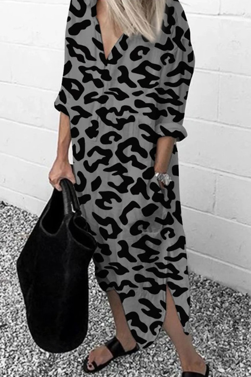 Print Side Slit Pockets Dress