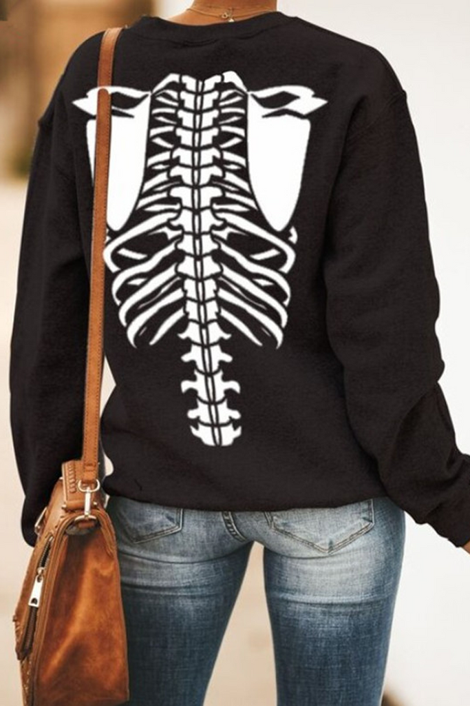 Halloween Skeleton Skull Print Sweatshirt