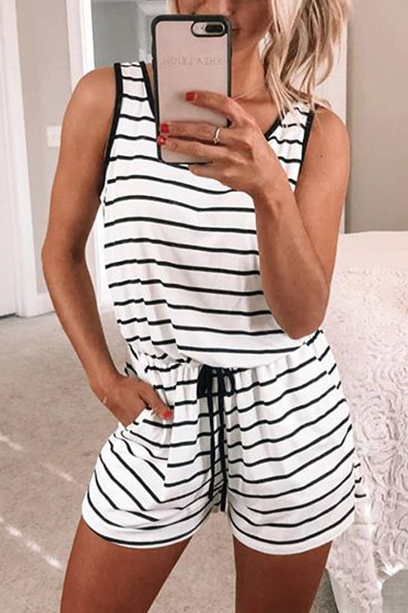 Plus Size Striped Drawstring Romper