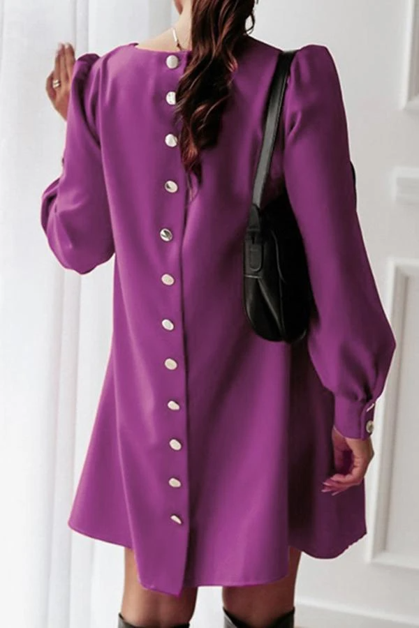 Back Button Solid Color Midi Dress