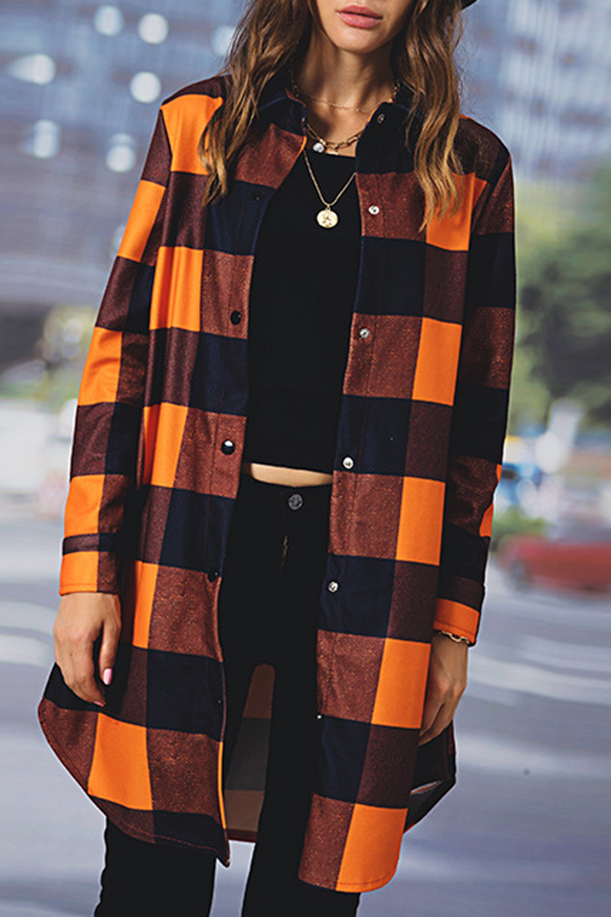 Plaid Print Casual Coat
