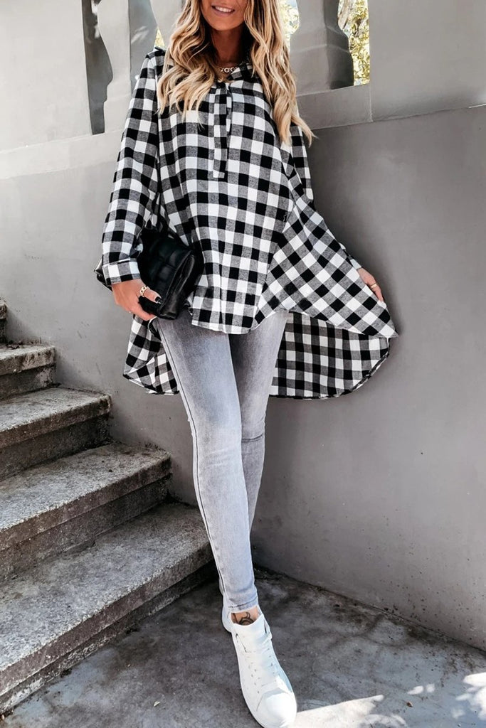 Plaid Print Irregular Hem Blouse