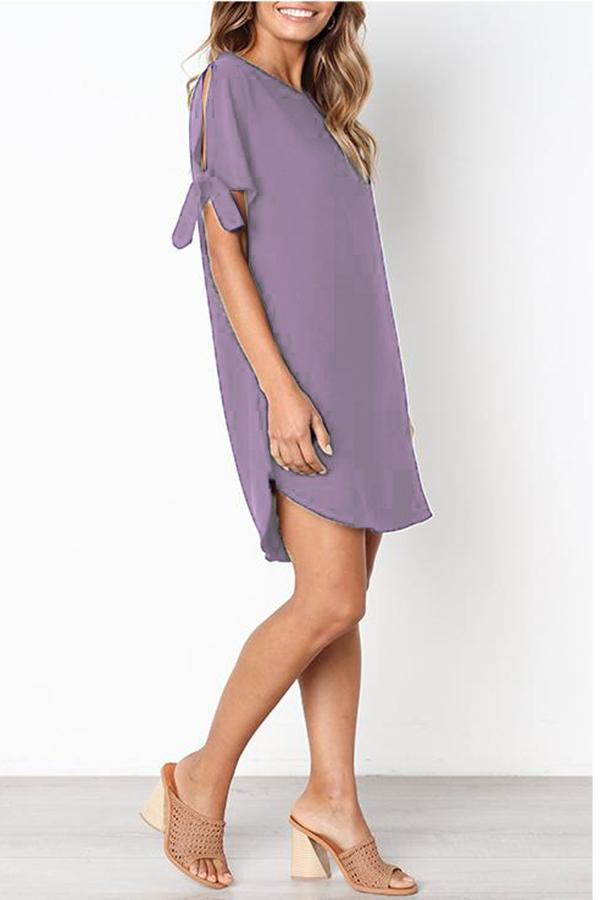 Knot Half Sleeve Round Neck Casual Dress