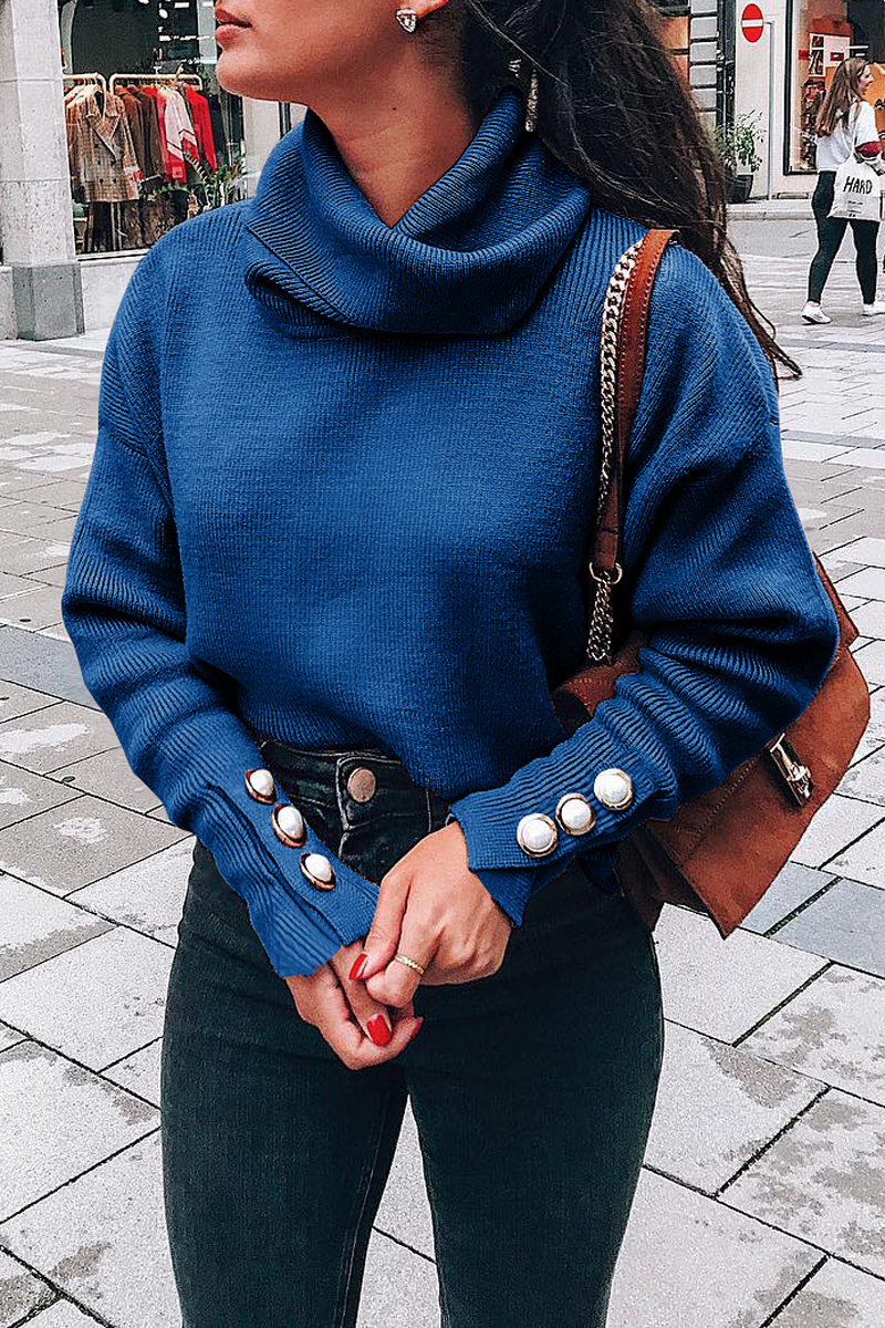 Pile Collar Button Sweater