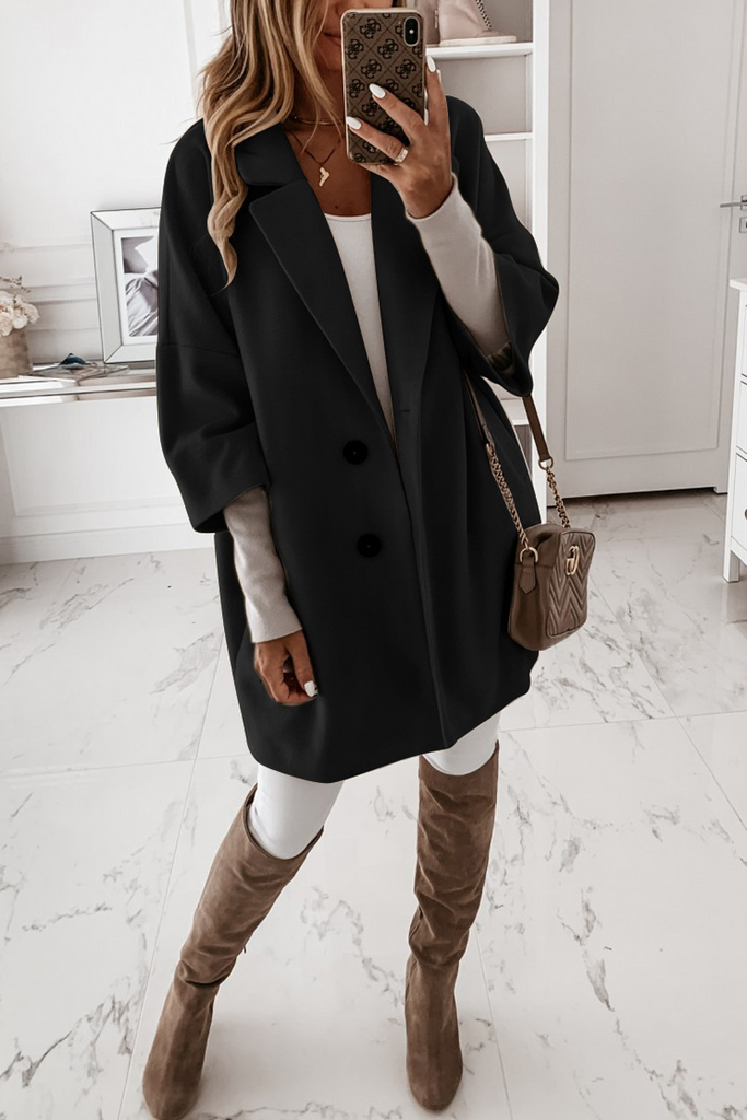 Solid Wide Lapel Woolen Coat