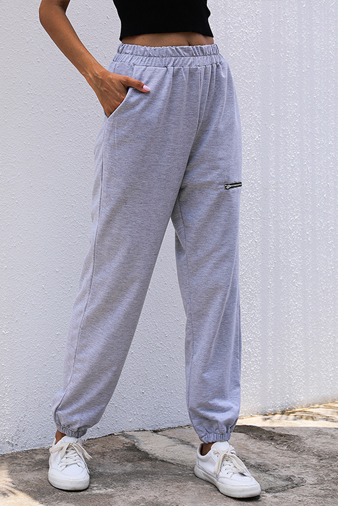 Solid Zipper Casual Trousers
