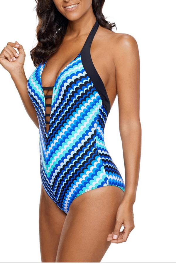 Deep V Neck Halter Belted Multicolor One Piece Swimwear