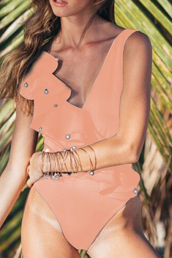 Solid Color Sleeveless Ruffle Strapped Pearl One Piece Swimwear