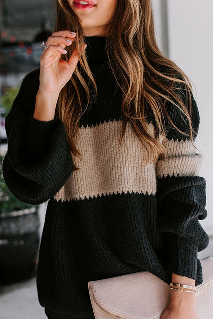 High Neck Color Patchwork Sweater