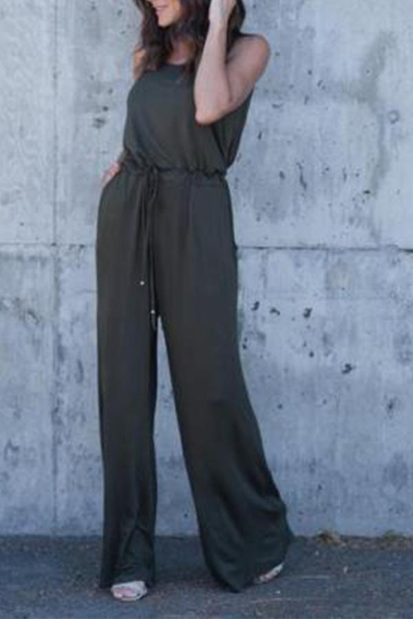Open Back Casual Solid Sleeveless Jumpsuit