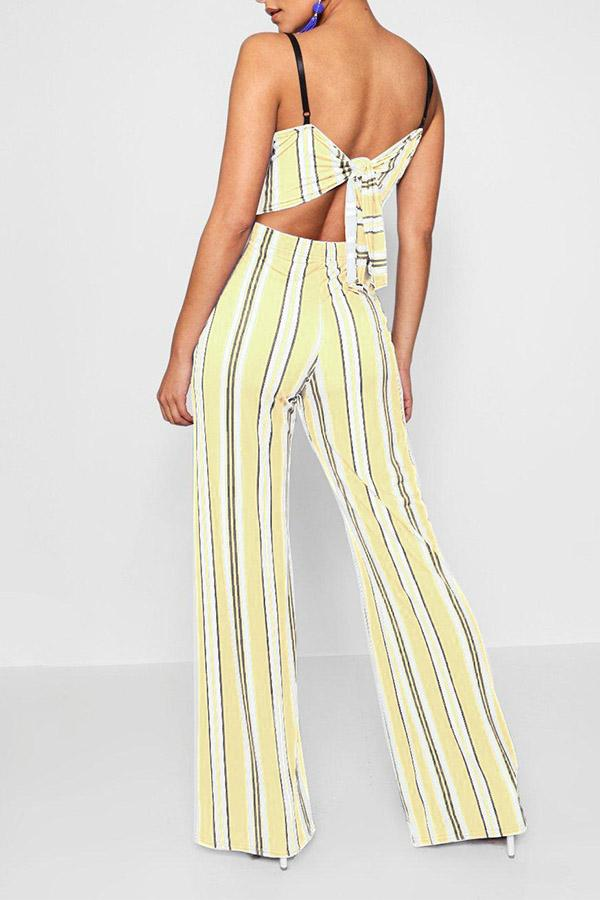 Mixed Color Stripe Printed Open Back Jumpsuit
