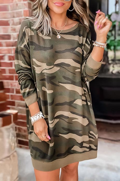 Long Sleeve Camouflage Shirt Dress