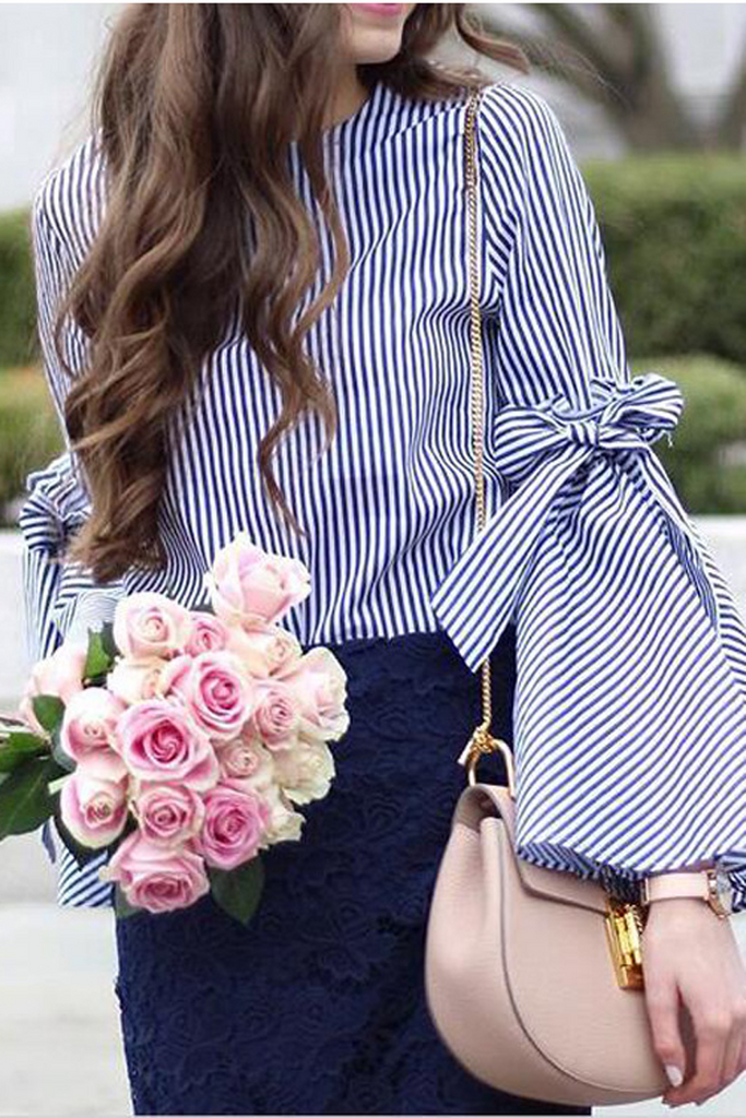 Stripe Print Flare Sleeve Slit Blouse