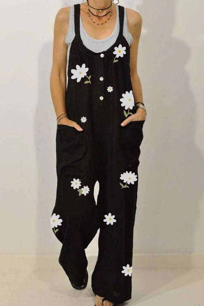 Flower Printed Plus Size Pocket Button Jumpsuit