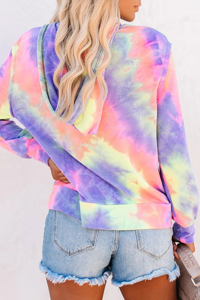 Hooded Collar Tie Dye Zipper Pocket Hoodies