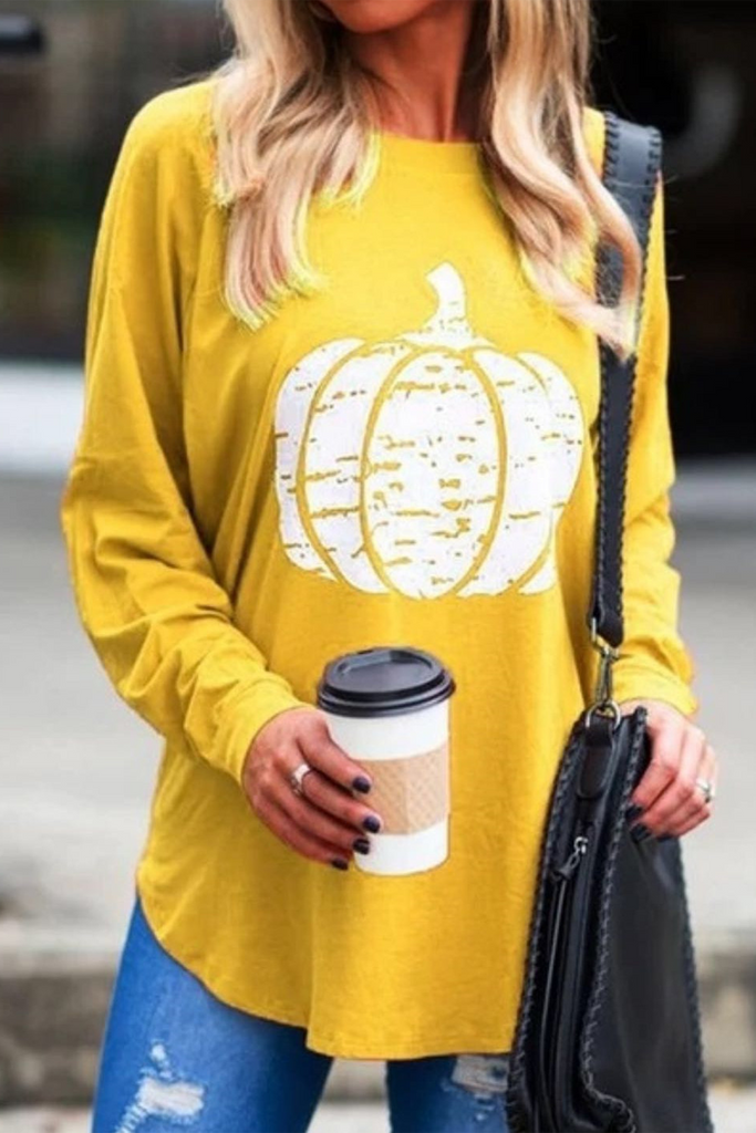 Pumpkin Print Long Sleeve T-Shirt