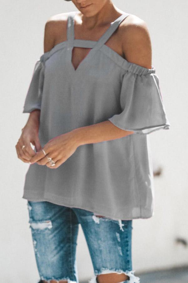 Chiffon Off The Shoulder  V Neck Short Sleeve Top
