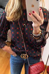 Geometric Pattern Fungus Edge Blouse