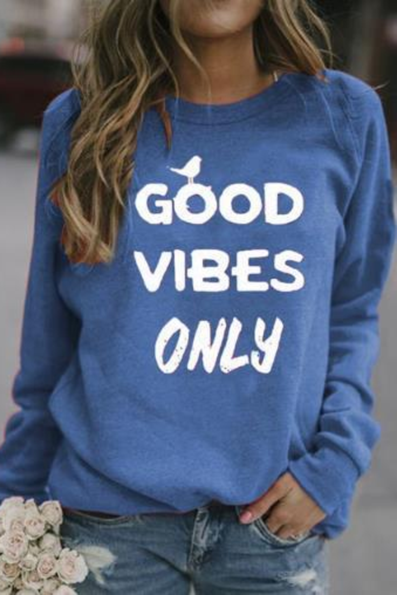 Letter Print Long Sleeve Casual Sweatshirt
