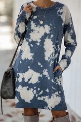 Tie Dye Round Neck T-Shirt Dress