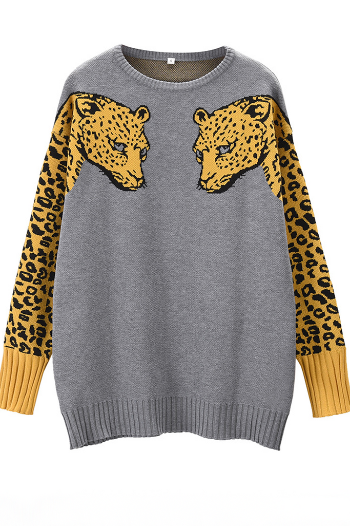 Animal Print Round Neck Sweater