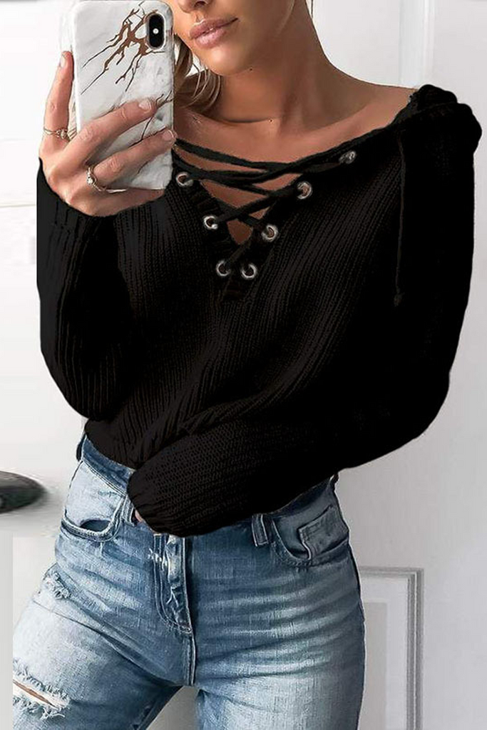 Lace-Up Cross Sweater Hoodie