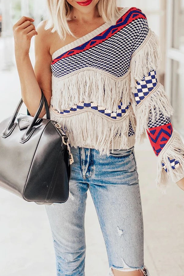 One Shoulder Tassels Patchwork Sweater